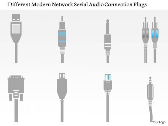 Business Diagram Different Modern Network Serial Audio Connection Plugs Ppt Slide