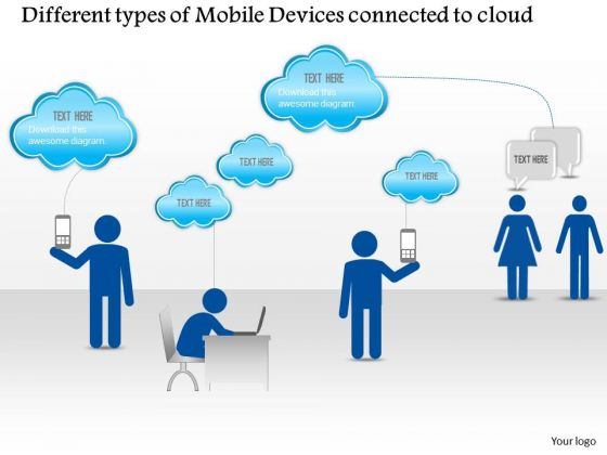 Business Diagram Different Types Of Mobile Devices Connected To The Cloud Presentation Template