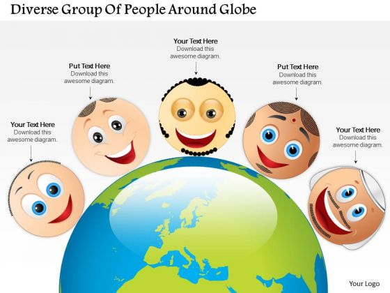 Business Diagram Diverse Group Of People Around Globe Presentation Template