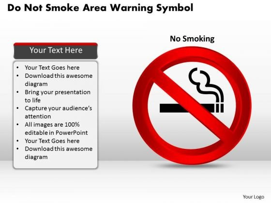 Business Diagram Do Not Smoke Area Warning Symbol Presentation Template