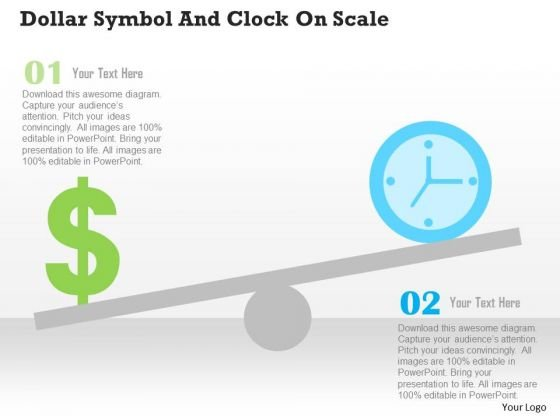 Business Diagram Dollar Symbol And Clock On Scale Presentation Template