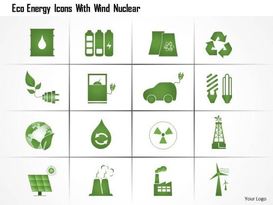 Business Diagram Eco Energy Icons With Wind Nuclear Ppt Slide