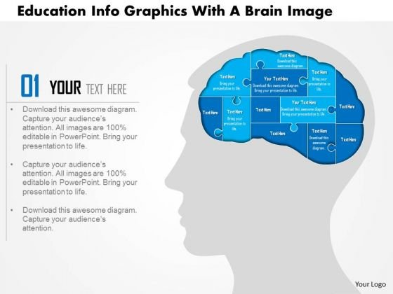 Business Diagram Education Info Graphics With A Brain Image Presentation Template