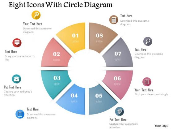 Business Diagram Eight Icons With Circle Diagram Presentation Template