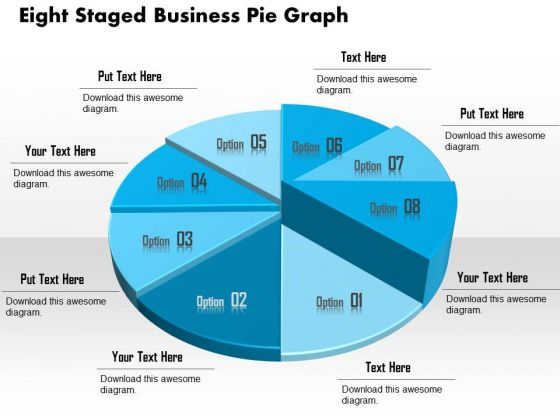 Business Diagram Eight Staged Business Pie Graph Presentation Template