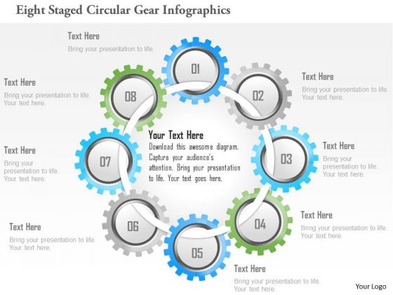 Business Diagram Eight Staged Circular Gear Infographics PowerPoint Template