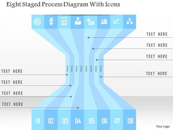 Business Diagram Eight Staged Process Diagram With Icons Presentation Template