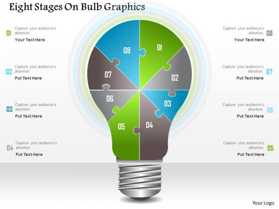 Business Diagram Eight Stages On Bulb Graphics Presentation Template