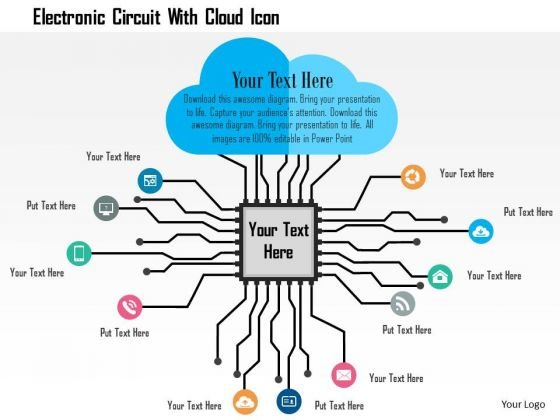 Business Diagram Electronic Circuit With Cloud Icon Presentation Template