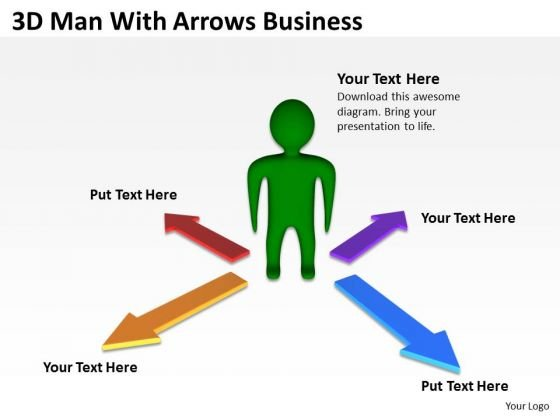 Business Diagram Examples 3d Man With Arrows PowerPoint Slides