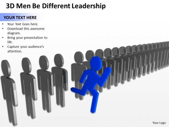 Business Diagram Examples 3d Men Be Different Leadership PowerPoint Slides