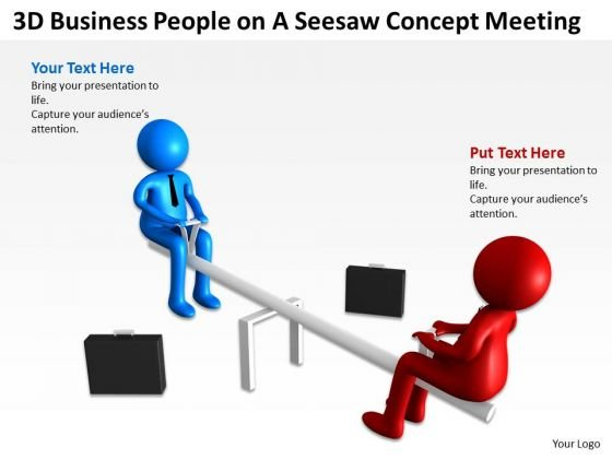 Business Diagram Examples 3d People On Seesaw Concept Meeting PowerPoint Slides