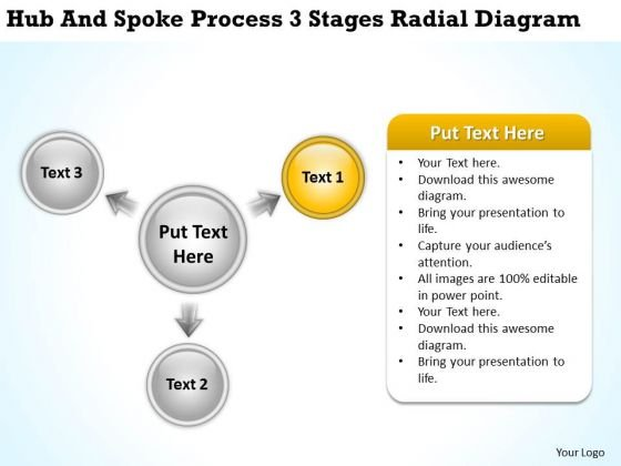 Business Diagram Examples Hub And Spoke Process 3 Stages Radial PowerPoint Templates