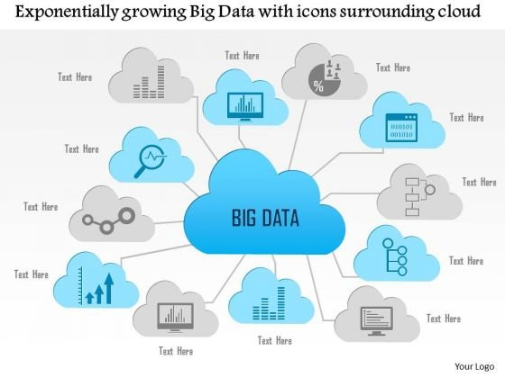 Business Diagram Exponentially Growing Big Data With Icons Surrounding Cloud Ppt Slide