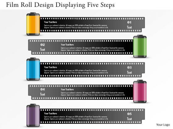 Business Diagram Film Roll Design Displaying Five Steps Presentation Template