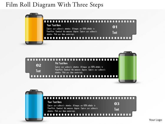 Business Diagram Film Roll Diagram With Three Steps Presentation Template