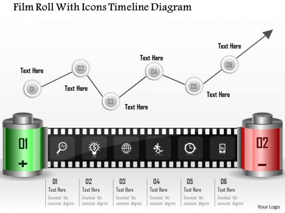 Business Diagram Film Roll With Icons Timeline Diagram Presentation Template