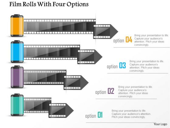 Business Diagram Film Rolls With Four Options Presentation Template
