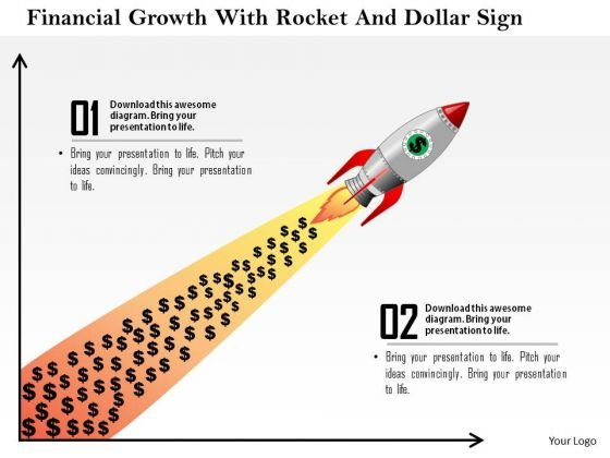 Business Diagram Financial Growth With Rocket And Dollar Sign Presentation Template
