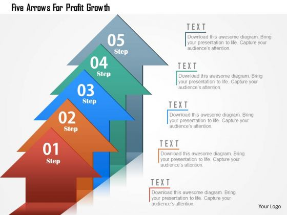 Business Diagram Five Arrows For Profit Growth Presentation Template