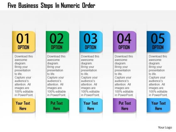 Business Diagram Five Business Steps In Numeric Order Presentation Template