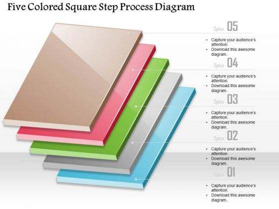 Business Diagram Five Colored-square Step Process Diagram Presentation Template