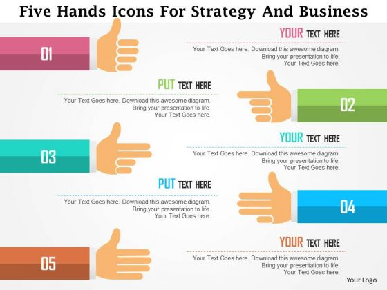 Business Diagram Five Hands Icons For Strategy And Business Presentation Template