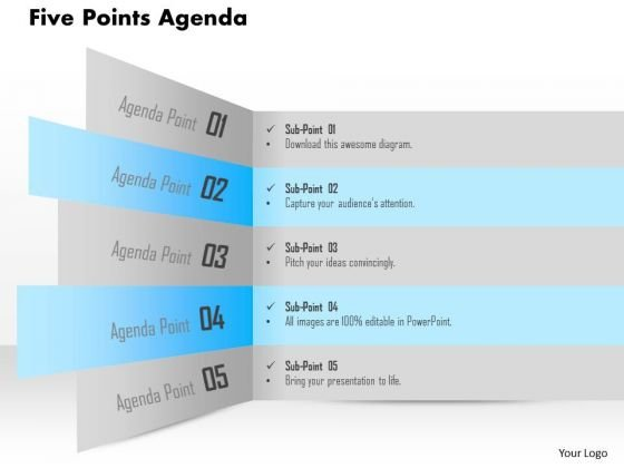 Business Diagram Five Points Agenda Presentation Template