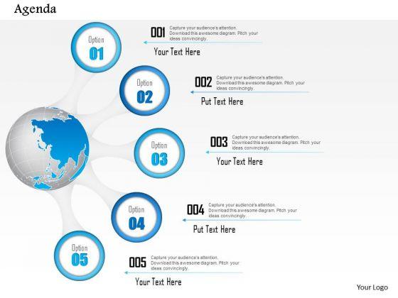 Business Diagram Five Points Agenda With Globe Diagram Presentation Template