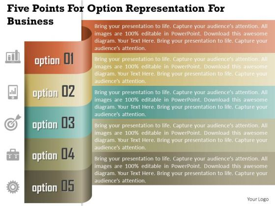 Business Diagram Five Points For Option Representation For Business Presentation Template