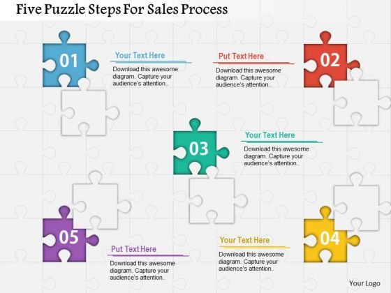 Business Diagram Five Puzzle Steps For Sales Process Presentation ...
