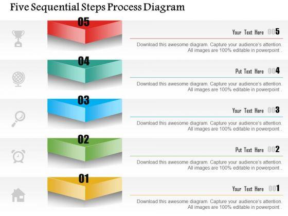 Business Diagram Five Sequential Steps Process Diagram Presentation Template