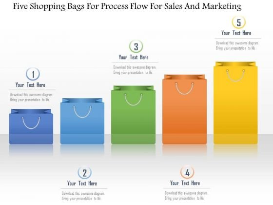Business Diagram Five Shopping Bags For Process Flow For Sales And Marketing Presentation Template