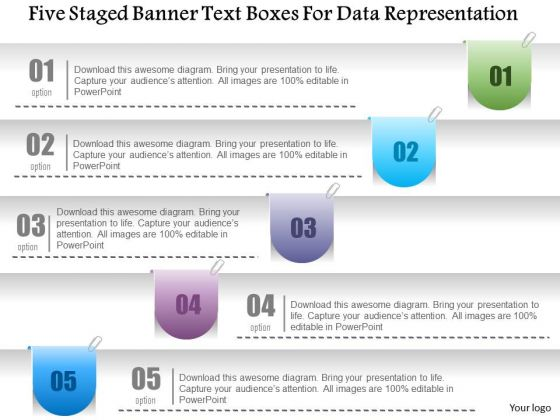 Business Diagram Five Staged Banner Text Boxes For Data Representation PowerPoint Template