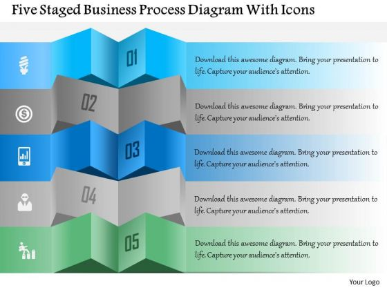 Business Diagram Five Staged Business Process Diagram With Icons Presentation Template