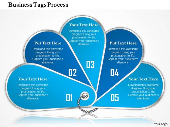 Business Diagram Five Staged Business Tags For Process Flow Presentation Template