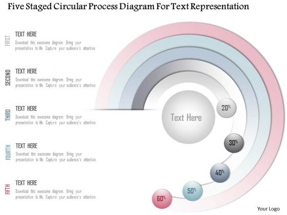Business Diagram Five Staged Circular Process Diagram For Text Representation Presentation Template