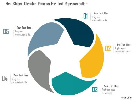 Business Diagram Five Staged Circular Process For Text Representation Presentation Template