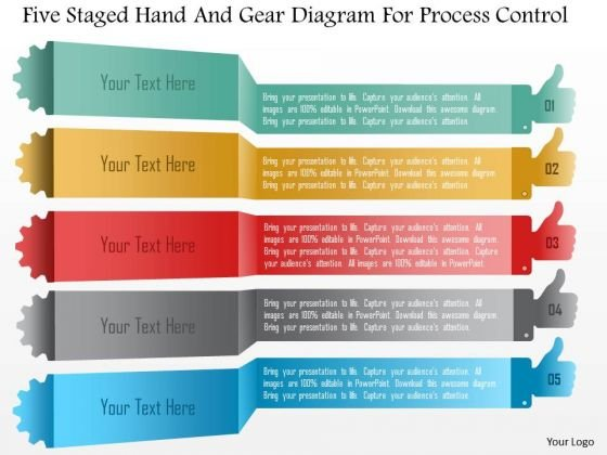 Business Diagram Five Staged Hand And Gear Diagram For Process Control PowerPoint Template