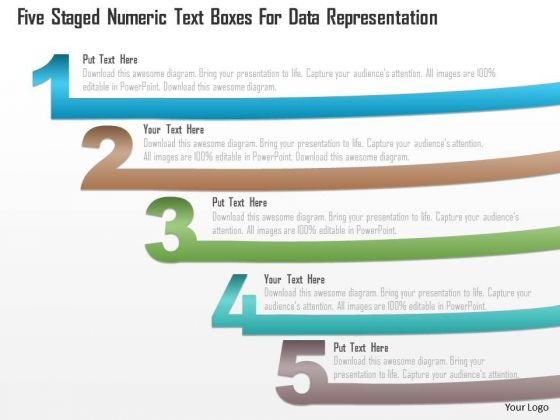 Business Diagram Five Staged Numeric Text Boxes For Data Representation PowerPoint Template