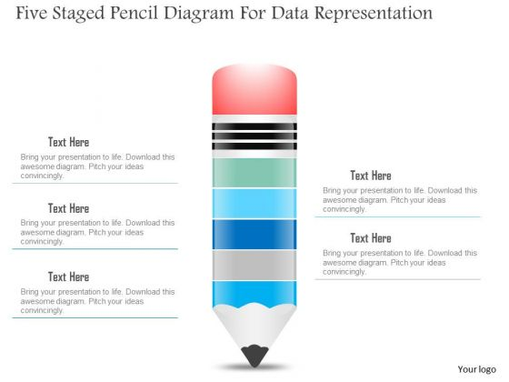Business Diagram Five Staged Pencil Diagram For Data Representation PowerPoint Slide