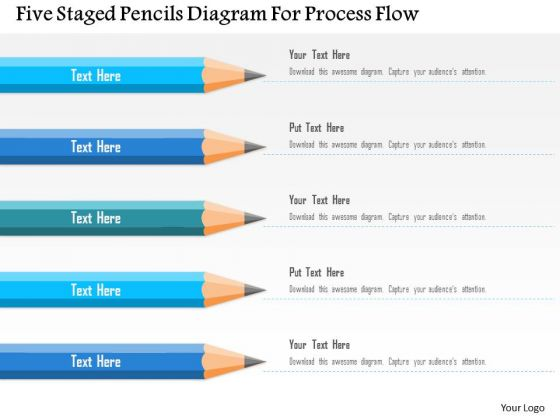 Business Diagram Five Staged Pencils Diagram For Process Flow PowerPoint Template