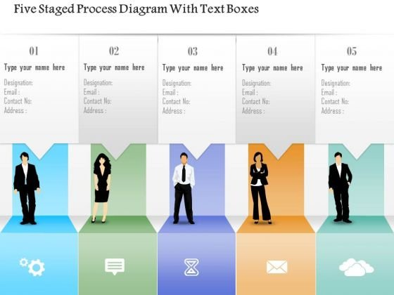 Business Diagram Five Staged Process Diagram With Text Boxes PowerPoint Template