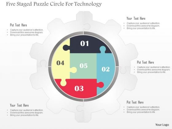 Business Diagram Five Staged Puzzle Circle For Technology Presentation Template