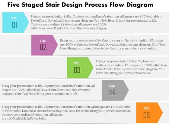 business diagram five staged stair design process flow diagram, Powerpoint templates