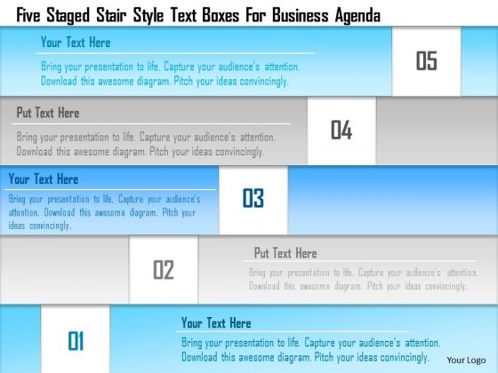 Business Diagram Five Staged Stair Style Text Boxes For Business Agenda Presentation Template