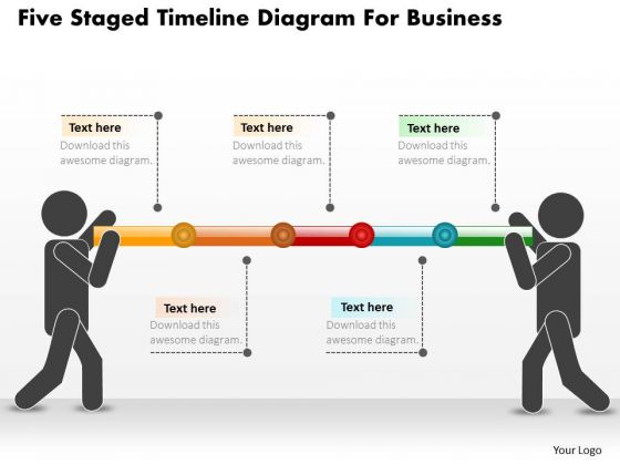 Business Diagram Five Staged Timeline Diagram For Business PowerPoint Slide