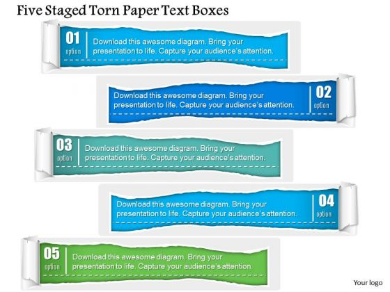 Business Diagram Five Staged Torn Paper Text Boxes PowerPoint Template