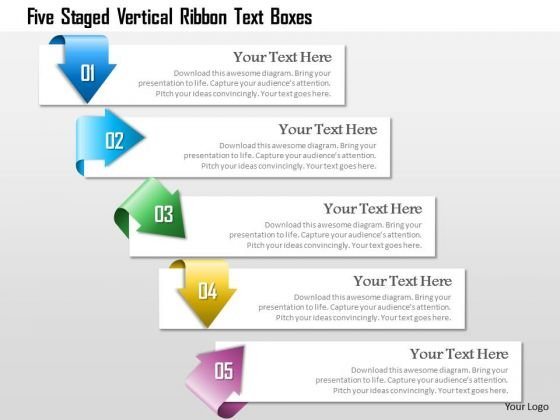 Business Diagram Five Staged Vertical Ribbon Text Boxes Presentation Template