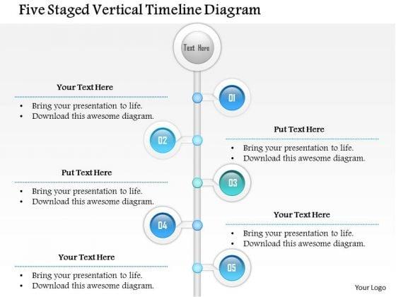 Business Diagram Five Staged Vertical Timeline Diagram Presentation Template